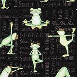 Robert Kaufman Schwarzer Stoff mit Fröschen beim Yoga und