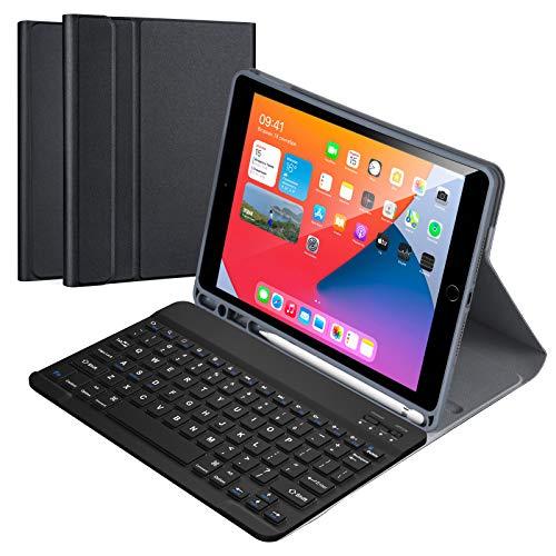 """Funda con Teclado Inglés para iPad 10.2"""" 8th Gen 2020/7th Gen 2019/ iPad Pro 10.5/iPad Air 3, Carcasa PU Delgada con Teclado Bluetooth Inalámbrico Desmontable Magnético para iPad 10.2"""