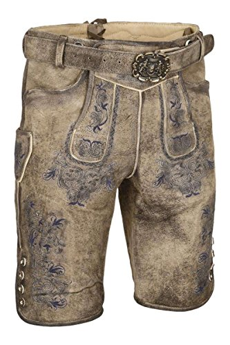 Almsach Herren Kurze Herren Lederhose mit Gürtel und Träger mit Blauer Stickerei, MEISS-GF180 (braun), 46