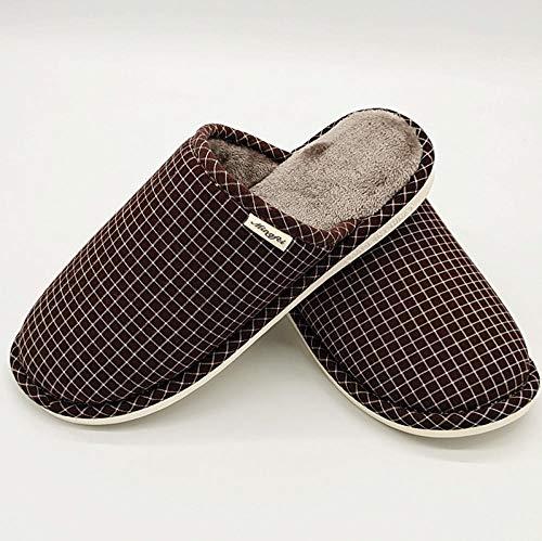 B/H Zapatillas de casa,Zapatillas de casa de algodón de Talla Grande para Hombre para otoño e Invierno, Zapatos cómodos Antideslizantes para Interiores y Exteriores.-marrón_47