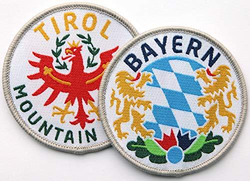 2er-Set Tirol & Bayern Abzeichen gewebt 60 mm / bayerisch tiroler Land Alpen Berge Wandern Tradition Küche Heimat Reise / Aufnäher Aufbügler Flicken Sticker Patch für Mode Tracht Janker Dirndl