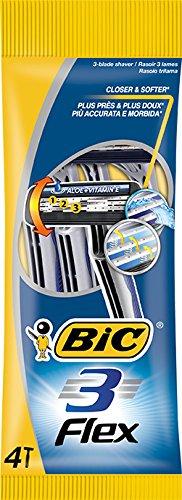 BIC 3 Flex scheerapparaat voor mannen, 3 mesjes, voor de gevoelige huid, 4 stuks