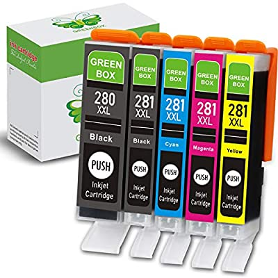 GREENBOX Compatible Ink Cartridge Replacement for Canon 280 281 PGI-280XXL CLI-281XXL for Canon PIXMA TR7520 TR8520 TS9120 TS6120 TS6220 TS8120 TS8220 TS9520 TS9521 Printer (5 Pack)