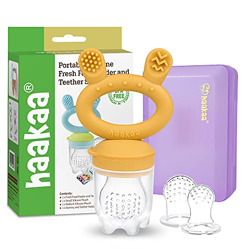 Baby Fruit Food Feeder Pacifier - haakaa Silicone Feeder and Teether All in One,BPA Free Teething Relief Toy with Teether Clip&Travel Case (Mustard)