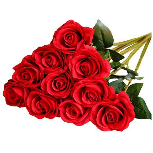 DuHouse 10 künstliche rote Rosen Seide Blumen gefälschte Rose für Arrangements Hochzeitsfeier Wohnkultur