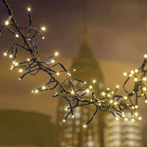 XMASKING Catena Festoon 12,5 m, Ø 12 cm, 1100 miniled Bianco Caldo Ø 3 mm, Cavo Verde, luci Decorative, luci Natalizie, Catena per Albero di Natale