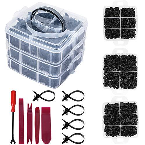 Bangcool Rivetti Plastica per Auto Parafango a Spinta Nylon Plastica Rivetti Clip Set Fissaggio Rivetto Clip (635 pz 16 Dimensioni)