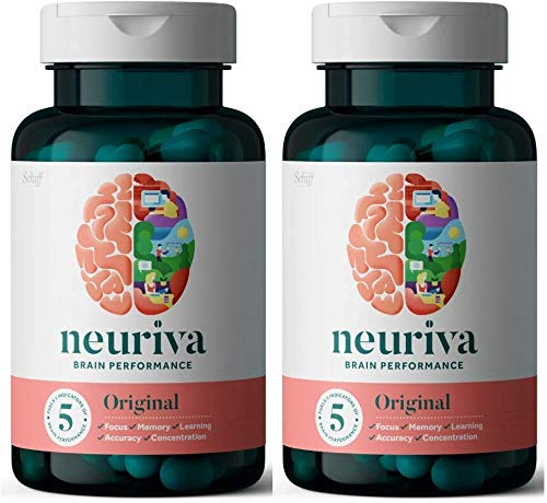 Neuriva Original Brain Performance Supplement (30 count), Brain Support With Clinically Proven Natural Ingredients (Coffee Cherry & Plant Sourced Phosphatidylserine) (Pack of 2)