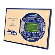 """Unique 3D stadium design hand assembled from multiple layers of engineered wood Dimensions: 12"""" x 8"""" x 3/8'' Officially licensed picture comes ready to hang or display and includes snap in stand for desktop display Seattle Seahawks team colors stand ..."""