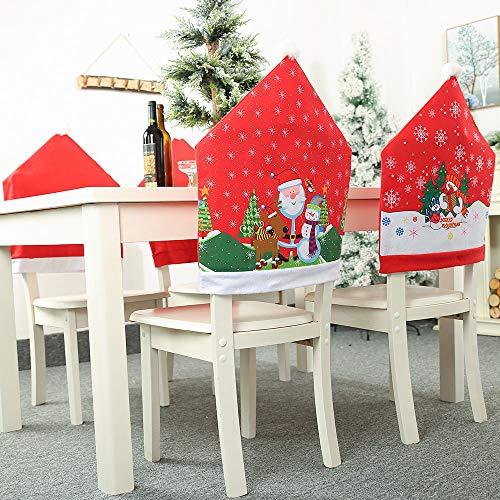 Frmarche - Funda para silla, decoración de Papá Noel, decoración DIY para sillas, elementos de Na