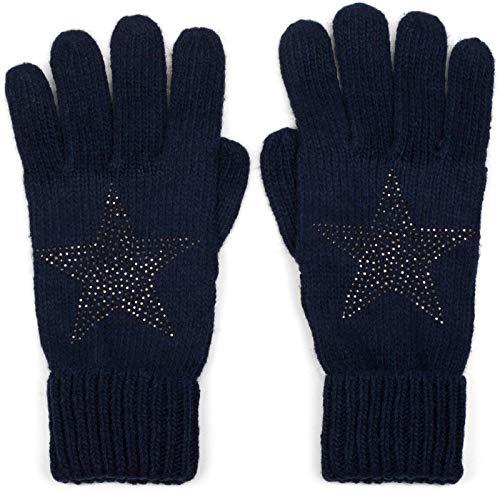 styleBREAKER Damen Handschuhe mit Strass Nieten Stern Applikation und doppeltem Bund, warme Strickhandschuhe, Fingerhandschuhe 09010008, Farbe:Midnight-Blue/Dunkelblau