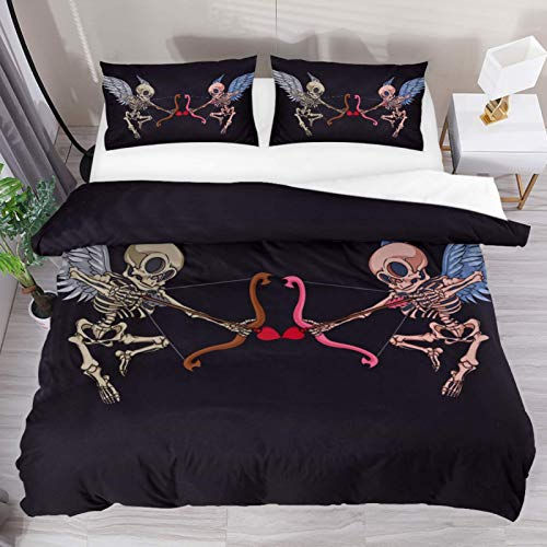 HEOEH Skeleton Cupid Mascot Angel Wings Bow Arrow Pattern Duvet Cover Set Queen Size Kids Bedding Sets Comforter Cover with Soft Lightweight Microfiber 1 Duvet Cover and 2 Pillowcase