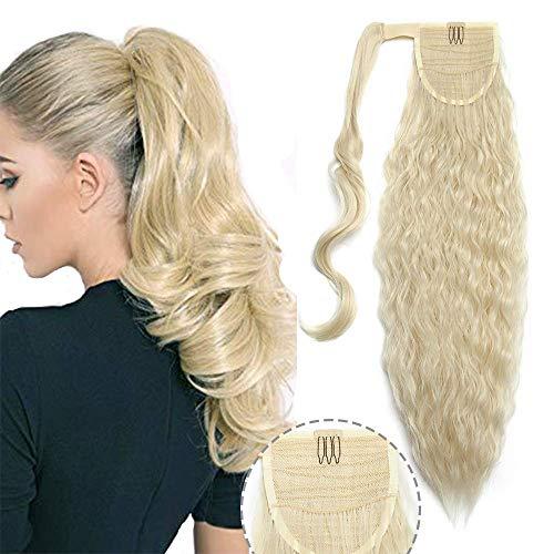 Haarverlängerung Ponytail Extensions Clip in Zopf Extensions Weich Natürlich Pferdeschwanz Haarteil wie Echthaar Corn Wave Hair Extensions 65cm-110g # Bleichblond