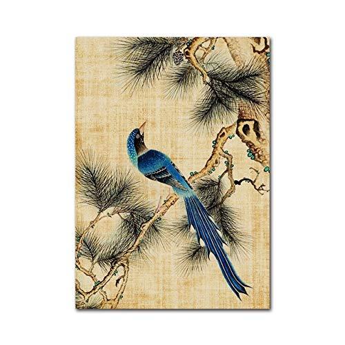 WSWWY Nuovo Stile Cinese di Fiori e Uccelli pianta Moderna Pittura Decorazione della casa Poster Arte Vintage Quadri murali per Soggiorno A 60x80cm Senza Cornice