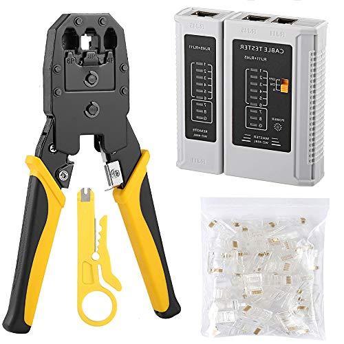Solsop Cable Tester RJ45 Crimp Tool kit Crimp Crimper CAT5e CAT5 Crimping Tool with 100PCS RJ45 CAT5 CAT5e Connectors Plug Network Tool kits(Crimper Kit 315)