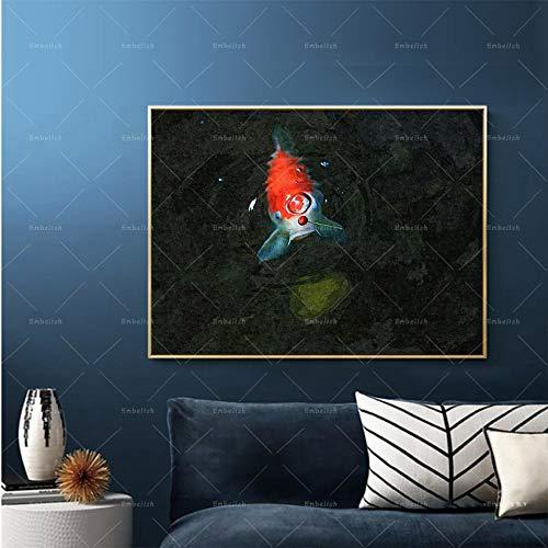 Lienzo Pintura Brocado Carpa Nadando Pinturas Al Óleo Reproducción Impresión Paisaje Pared Arte Para Cartel De Sala De Estar 50 * 75cm