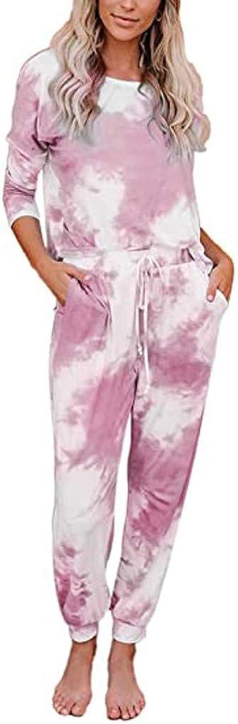Tie Dye Pajamas for Women,Womens Tie Dye Printed Loungewear Jumpsuit Tops Joggers One Piece Pants PJ Nightwear