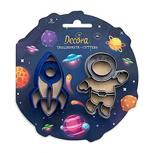 Kit 2 TAGLIAPASTA Spazio con Astronave Navicella Spaziale e Astronauta - formine stampi Taglia Biscotti per Creare Fantastici Dolci e decori Torte - Ideale per Decorazioni in Pasta di Zucchero