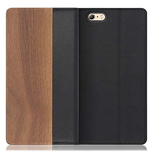 [左利き仕様] LOOF Nature iPhone 6 / 6s ケース 手帳型 カバー 天然木 本革 ウッド 手帳型ケース 手帳型カバー 携帯ケース 携帯カバー スマホケース スマホカバー ベルト無し 木製 スタンド機能付き カード収納 カードポケット