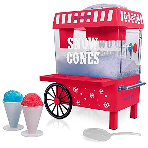 Nostalgia SCM525RD Vintage Countertop Snow Cone Maker Makes 20 ICY Treats Includes 2 Reusable Plastic Cups & Ice Scoop, Regular, Red