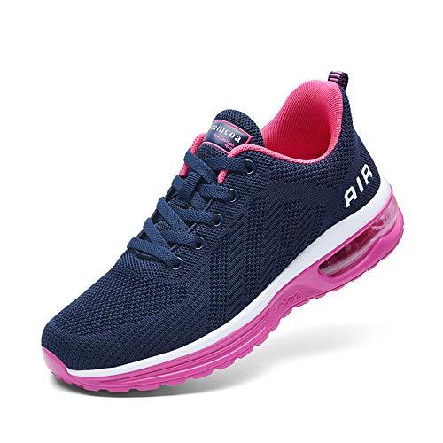 NewNaisu Damen Luftkissen Laufschuhe Mesh Atmungsaktiv Running Fitness Turnschuhe rutschfest Stoßfest Outdoors Sportschuhe Navy Blau Rose 35