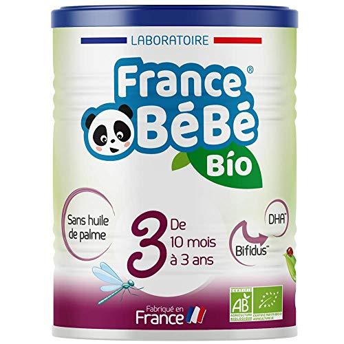 FRANCE BéBé BIO - Lait infantile pour bébé 3ème âge en poudre à partir de 10 mois - Lait fabriqué en France - BIFIDUS - OMEGA 3 - SANS HUILE DE PALME - 400g