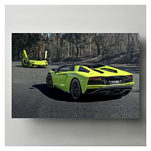 RHWXAX Modern Wall Art Canvas Pintings Picture Supercar Aventador S Roadster Green Pósters HD Imprimir para la Sala de Estar Decoración 20x28 Pulgadas Sin Marco