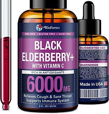 Elderberry Syrup with Vitamin C - Black Elderberry Syrup for Immune Support - Rich in Flavonoids & Antioxidants - Organic Sambucus Elderberry Supplement - Vegan Elderberry for Adults & Kids