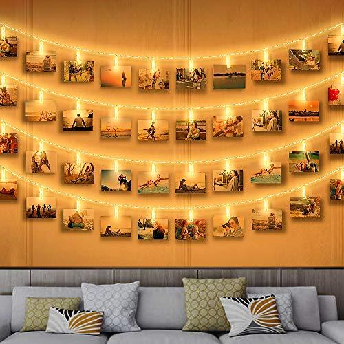 Clip Cadena de Luces LED, Zorara 40LEDs 6m Fotoclips Guirnalda de Luces, Guirnalda Luces Pilas para Decoración de Fotos [Clase de eficiencia energética A]