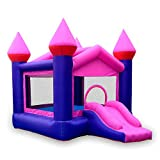 doctor dolphin Inflatable Pink Bounce Castle House Kids Party Bouncy House with Commercial Grade Air Blower Included