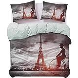 UNOSEKS LANZON - Colcha para hombre en bicicleta retro junto a la Torre Eiffel París Francia Dramático Cielo Sol Moderno Juego de colcha ligera muy suave y suave, color negro, gris rosa, tamaño Queen