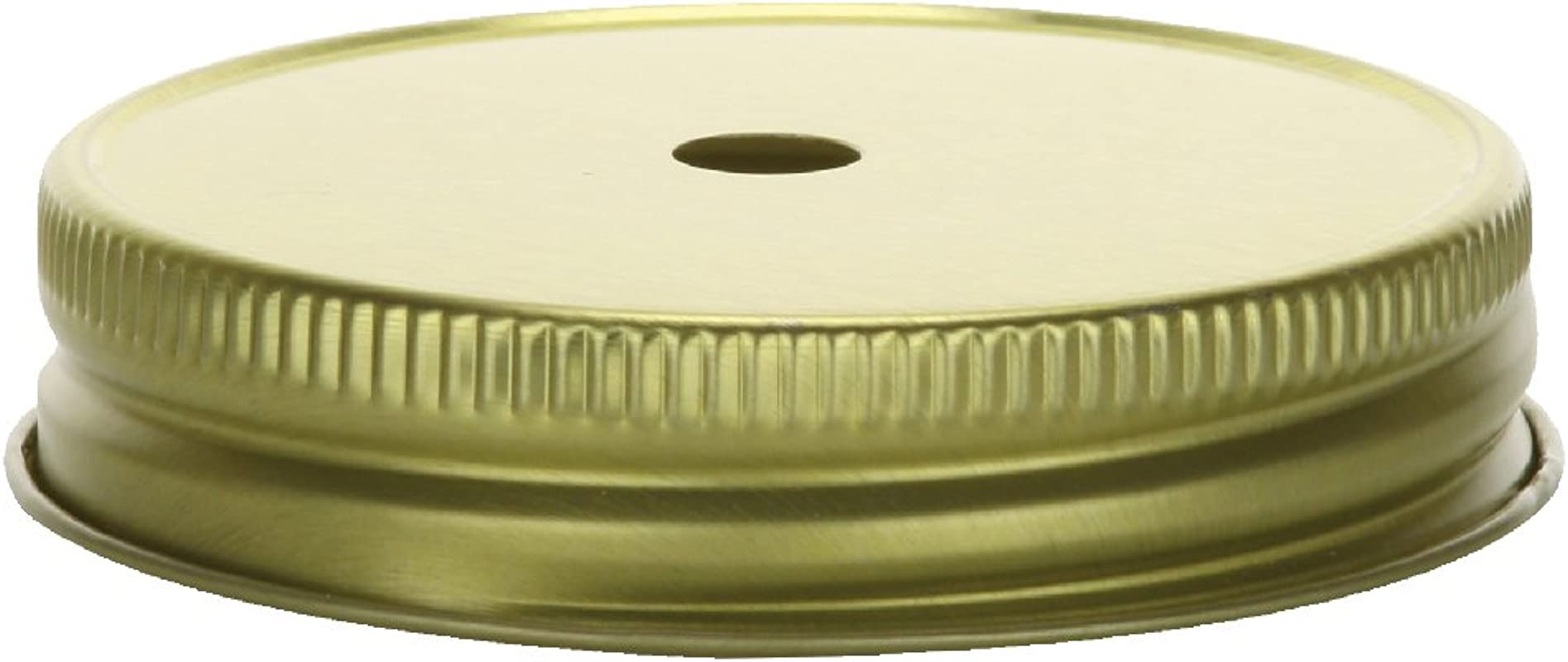 Nakpunar 24 Pcs Gold Mason Jar Lids With Drinking Straw Holes For Regular Mouth Mason Jars Made In USA