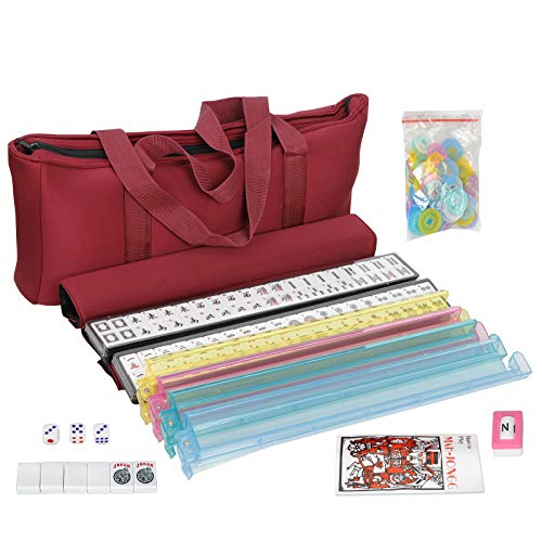 American Mah Jongg Mahjong 166 Tile Set with 4 All-in-One Rack/Pushers,Soft Bag (Stylish Full Size Complete Mah Jongg Set)