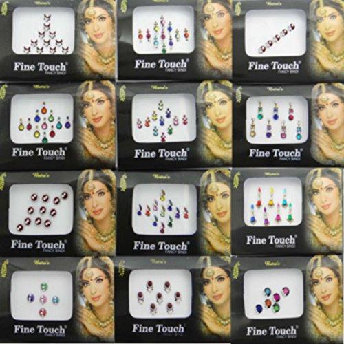 Banithani - Confezione da 12tatuaggi adesivi multicolore Bindi indiani