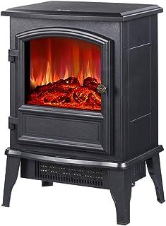 Heater Gqq @ Chimenea eléctrica Llama simulada - Chimenea electrónica, 2000 W, para Salas de 20 m², Termostato, Función calefactora, Negro