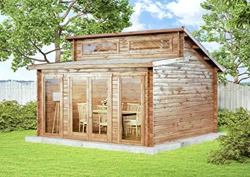 Alpholz Gartenhaus Narvig A aus Massiv-Holz | Gerätehaus mit 40 mm Wandstärke | Garten Holzhaus inklusive Montagematerial | Geräteschuppen Größe: 420 x 420 cm| Pultdach