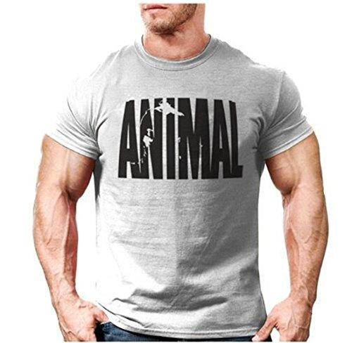 YeeHoo Animal Herren Fitness T-Shirt für Training Gym Fitness & Bodybuilding mit Rundhals