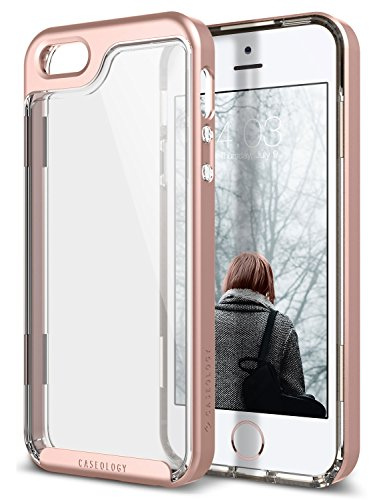 Caseology Skyfall for iPhone SE / 5S / 5 Case (2013/2016) - Clear Back & Slim Fit - Rose Gold
