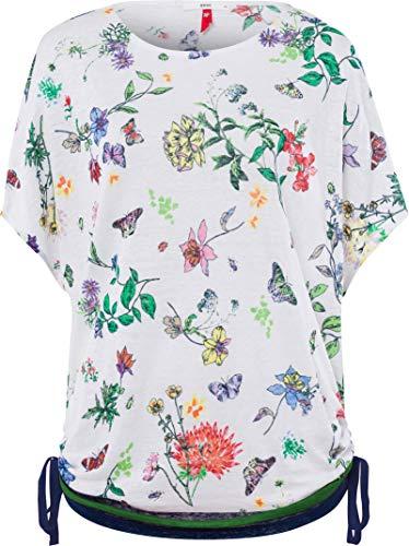 BRAX Damen Style Rachel Linen Print Geblühmtes Leinenshirt Poncho T-Shirt, White, L