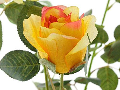 Aniba Design Kunstrose mit 3 Blüten und 3 Knospen gelb ABROS010