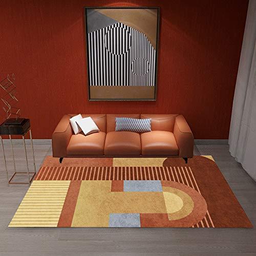 Einfache rutschfeste Gepolsterte Fußmatten Im Europäischen Stil, Geometrisches Rechteckiges Schreibtischsofa, Couchtisch, Teppich, Schlafzimmer, Hotel, Wohnzimmer, Gastfamilie, Urlaubsteppich