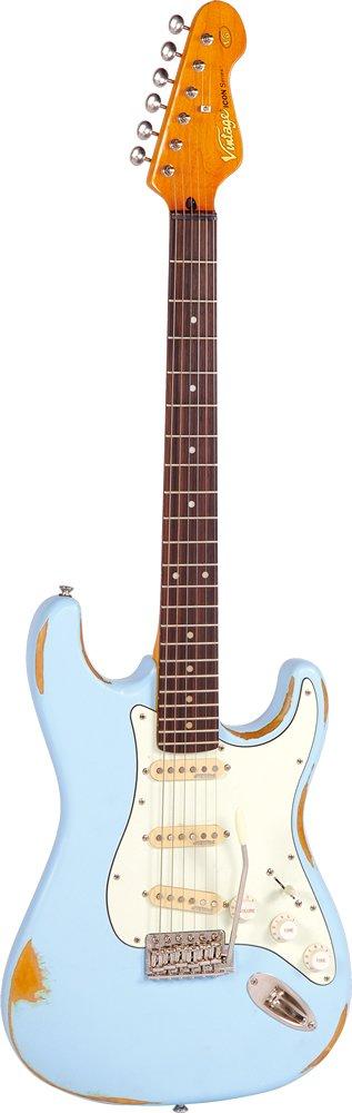 Cheap Vintage Guitars Icon V6 Electric Guitar - Distressed Laguna Blue Black Friday & Cyber Monday 2019