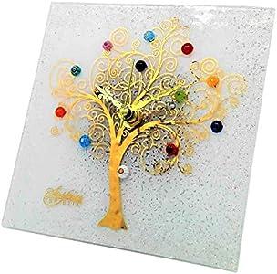 SOSPIRI VENEZIA Reloj de mesa cuadrado de cristal de Murano con árbol de la vida, 19 x 19 cm, técnica de vitrofusión, decoración murrina y hoja dorada, hecho a mano por artesanos venecianos (blanco)