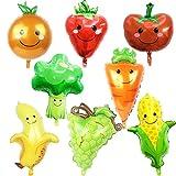 ED-Lumos Gigante Globos Frutas Verduras Globo de Helio 8 Piezas Decoración para cumpleaños Fiesta Modele Fresa Plátano UVA Tomate Zanahoria Maíz Brócoli