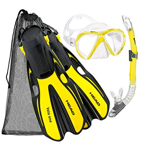 HEAD EAD Italian Collection Sailor Splash Quest Superior Mask Fin Snorkel Set with Travel Friendly Snorkeling Gear Bag