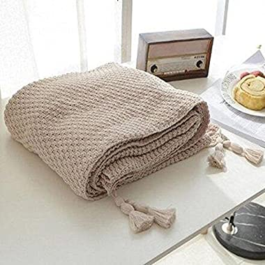 LakeMono Cotton Cable Throw Blanket Super Soft Knitted Crochet Cover Blanket All Seasons Multi Color