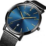 MECCA Men's Watch Blue Ultra Thin Watch Minimalist Fashion Stainless Steel Waterproof Analog Quartz Wrist Watch OL001