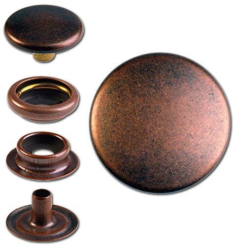 Hoppe & Masztalerz 15 Ringfeder-Druckknöpfe F3 14mm aus Messing (nickelfrei), Finish: Kupfer-antik, Verschlusskraft: leicht