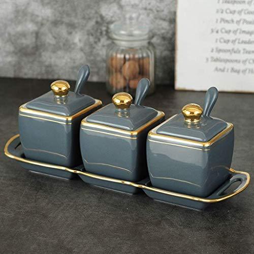 Gewürztöpfe Handbemalte goldene Keramik Gewürzglas Set Haushaltslicht Luxus Gewürzbox Salz Zucker Vorratsglas mit Deckel Löffel und Tablett Küchenbedarf (Farbe: Grau)