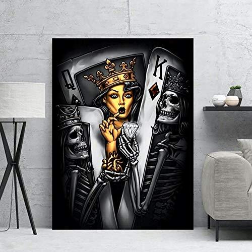 VVSUN Poker Beauties Impresiones en Lienzo Arte de la Pared Cuadros Carteles Pintura en Lienzo Cartel Abstracto Cuadro Decorativo de Estilo nórdico Mural, 50x70cm (sin Marco)